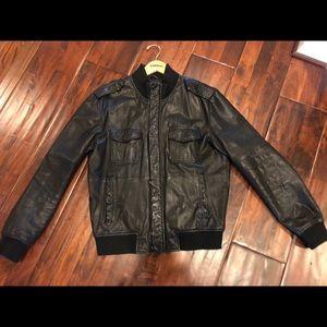 Express Genuine Leather Bomber Jacket